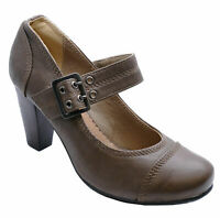 WOMENS BROWN SMART CASUAL SLIP-ON SECRETARY WORK COURT SHOES SIZES 2-7
