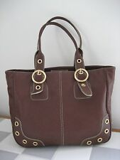 MAXX NEW YORK Brown Leather Double Handle Shopper Tote Shoulder Bag