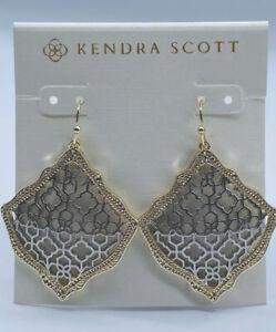 Kendra Scott Gold Drop Earrings In Silver Filigree Mix