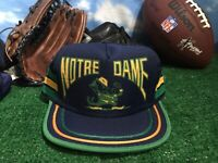 Vintage rare Notre Dame fighting Irish green yellow Blue snap back Hat Cap H17