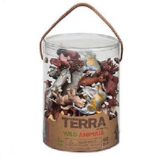 Kid Wild Animal Toy Figure Set 60pc Children Play Jungle BPA Free Plastic Bucket