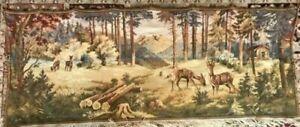 "Vintage Gobelin Tapestry, Wall Hanging, Rustic with Log Cabin & Deer, 66"" X 27"""