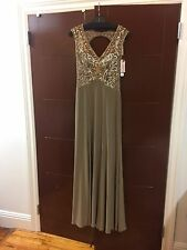 NWT Sue Wong Embellished Taupe Gown