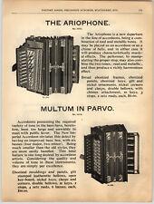 1894 PAPER AD Multum In Parvo Ariophone Accordeon Accordion German Made