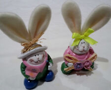 Adorable Easter Bunny Couple – ceramic with fuzzy fabric ears
