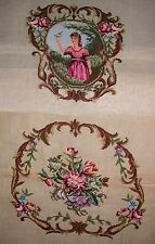 EP 4157 Vintage Medallion Back 2pc Chair Seat Set Preworked Needlepoint Canvas