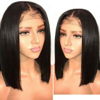 12-16'' Women Natural Black Lace Front Wig Synthetic Hair Lady Bob Straight Wigs