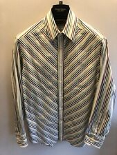 Nyne Striped Shirt Size M - White Yellow Green Red Striped