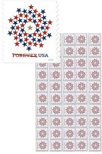 USPS Forever Postage 50 Stamps Red White Blue Stars Patriotic Spiral