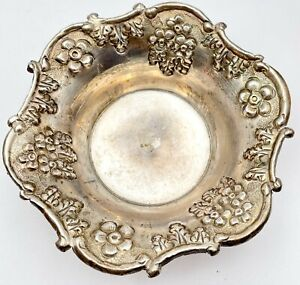 Antique Repousse Floral Design Silver Bowl Made in India