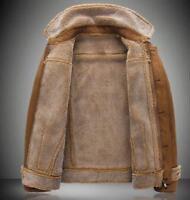 Men's Peacoat Slim Fur Lining Coat Suede Wool Overcoat Warm Fleece Jacket Parka
