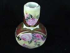 Vintage KPM Porcelain  Lidded Tea Caddy W/Cup Pink Roses Gold Vines And Trim