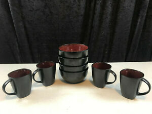 8 - Gibson Signature Living Black & Burgundy Ceramic Bowls & Mugs