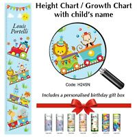 Circus Train Animals Height Chart for 1st or Child Birthday Present in Gift Box