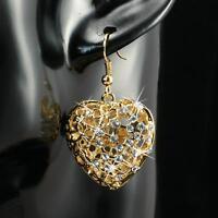 Ohrringe Herz Zirkonia weiss 750er Gold 18 Karat vergoldet gelbgold O1161