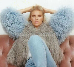 Fluffy Best Mongolian Sheep Fur Coats Short  jacket Ladys Fashion wool Fur
