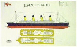 R.M.S. Titanic Deck Plans Linen Union Tea Towel by Samuel Lamont