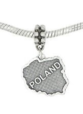 STERLING SILVER DANGLE POLAND COUNTRY MAP EUROPEAN  BEAD