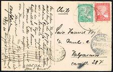 1176 GERMANY TO CHILE SEAPOST CANCEL CARD 1926 HAMBURG-SUDAMERICA VIA MONTEVIDEO