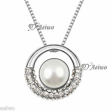 9K GF WHITE GOLD MADE WITH SWAROVSKI CRYSTAL PEARL CIRCLE RING PENDANT NECKLACE