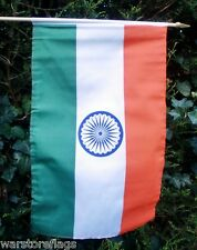 "INDIA LARGE HAND WAVING FLAG 18"" X 12"" WITH 24"" WOODEN POLE Indian flags"