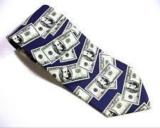 Utopia $100 BILLS Neck Tie Green Gray White Blue Necktie C-Note Benjamins  MONEY