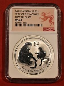 2016 ** YEAR OF THE MONKEY LUNAR AUSTRALIA ** $1 SILVER ** MS 69 First Releases