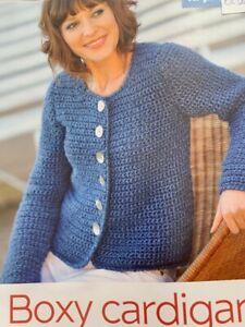 Crochet Pattern for a Boxy Cardigan Sizes: 82-107cms - CR31