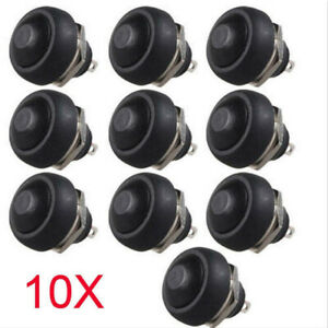 10X Durable 12mm Waterproof Momentary ON/OFF Push Button Mini Round Switch