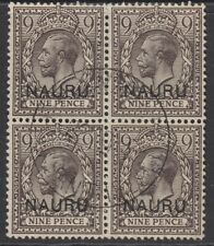 More details for sg 11 nauru 1916-26 9d agate. a very fine used block of 4