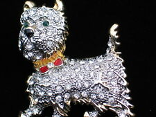 RHINESTONE SCOTTIE SCOTTISH TERRIER YORKIE WESTIE DOG PUPPY PIN BROOCH JEWELRY