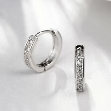 "18K White Gold Plated Crystal ""U""-shaped Small Hoop Earrings 16mm * 19mm H1054"