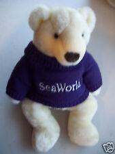 "SeaWorld White Polar Bear Plush Stuffed Toy 14"" Tall Good Condition"