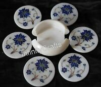 4.5 Inch Marble Coaster Set Lapis Lazuli Stone Inlaid Table Masterpiece for Home