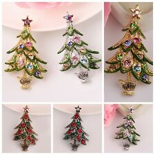 Brooch Pin Women Party Gift Gorgeous Mix Rhinestone Crystals Christmas Tree
