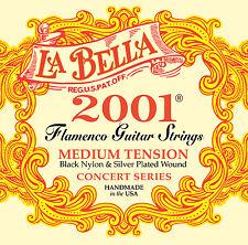 La Bella 2001 Flamenco Black Nylon Silver Plated Medium Guitar Strings Labella