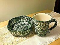 HENN Pottery PETAL BOWL and MUG CUP Green Spongeware VGUC Retired FREE SHIP
