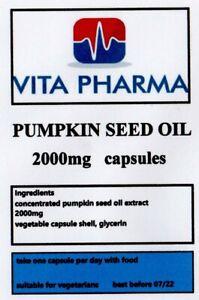 HIGH STRENGTH PUMPKIN SEED OIL 2000mg 60 capsules PROSTATE HEALTH CARDIOVASCULAR