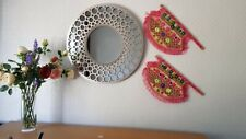 Handmade Embroidered traditional Pakistani Fan, Decoration Hot Pink Home Decor