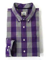Johnnie-O Hangin' Out Mens Sz XL Purple Gray Check Button Down Long Sleeve Shirt