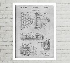 "Vintage 1969 Billiard Ball Rack Patent Print 8"" X 10"" game room man cave decor"