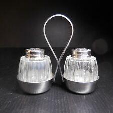 Serviteur sel poivre verre cristal métal inox RMV design vintage art déco N7724