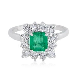 2.03 TCW Emerald Gemstone Cocktail Ring HI/SI Diamond 18K White Gold Jewelry