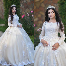Bohemian Wedding Dresses Bridal Ball Gown Long Sleeve Cathedral Lace Scoop Neck
