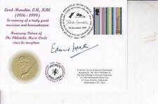 Rare FDC HAND Signed Edward Heath MP & EX Prime minister MUSIC CIRCLE COVER