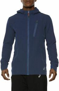 Asics Men's Outdoor Jacket Long Sleeve Full Zip Melange Jacket - Blue - New
