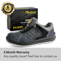 Safetoe Mens Work Safety Shoes Leather Light Weight Metal Free Composite Toe