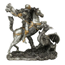 St. George With Dragon Statue, Pewter Style Finish, 11.5""