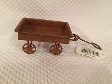 "Mini Rustic Wagon Star Wheels 6 1/8"" Fairy Garden Floral Crafts Miniature"