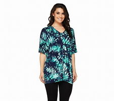 Lisa Rinna Collection Double V-Neck Dolman Tunic   DK TURQUOISE   MEDIUM